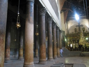 Interior of the Church of the Nativity, Bethlehem, July 2005.